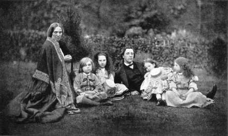 L to R - Louisa MacDonald, Greville MacDonald, Mary MacDonald, Lewis Carroll, Irene MacDonald, and Grace MacDonald - 1862, Click to Enlarge